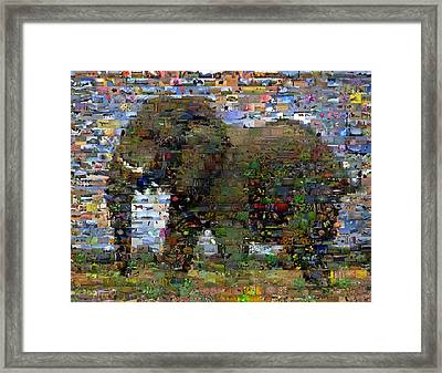 Framed Print featuring the mixed media African Elephant Wild Animal Mosaic by Paul Van Scott