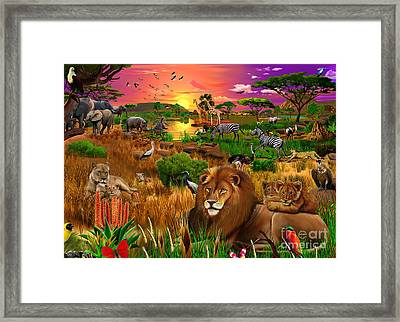 African Evening Framed Print by Gerald Newton