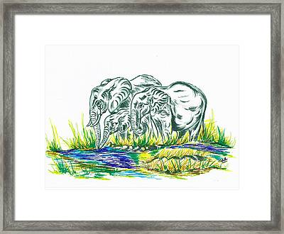African Family Elephant's Framed Print by Teresa White