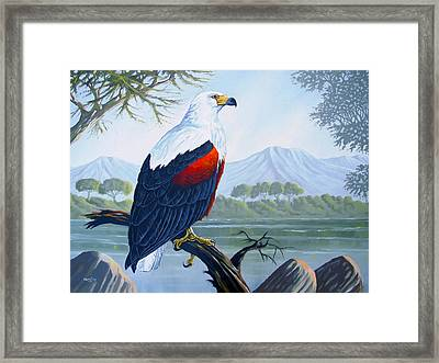 Framed Print featuring the painting African Fish Eagle by Anthony Mwangi