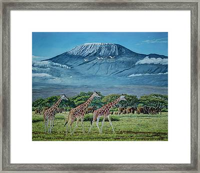 African Giants At Mount Kilimanjaro, Original Oil Painting 48x60 In On Gallery Canvas Framed Print by Manuel Lopez