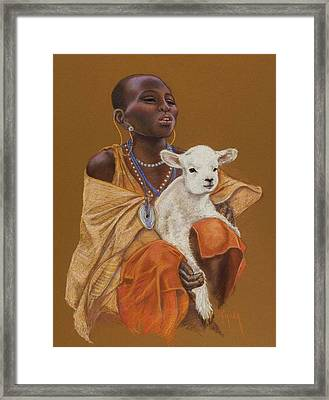 African Girl With Lamb Framed Print by Pamela Mccabe
