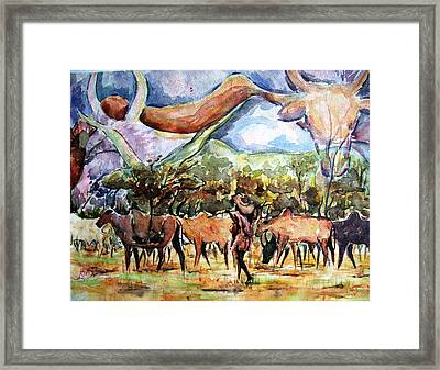 African Herdsmen Framed Print