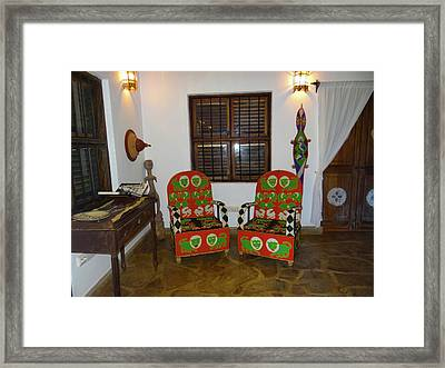 African Interior Design 5 Beaded Chairs Framed Print
