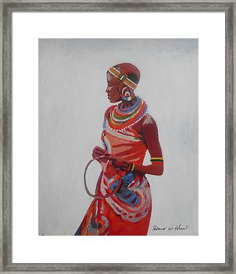 African Lady In Red Framed Print by Patrick Hunt