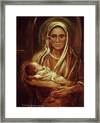 Mid-eastern Mother And Child Framed Print by Beverly Klucher