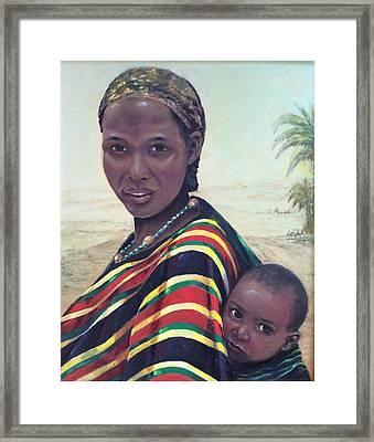 African Mother And Child Framed Print by Laila Awad Jamaleldin