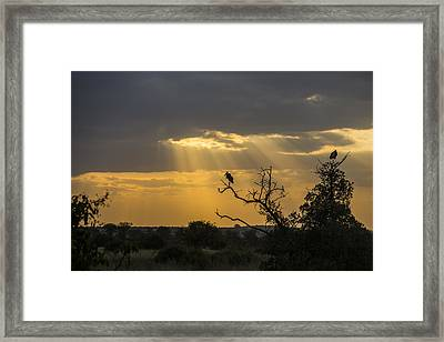 Framed Print featuring the tapestry - textile African Sunset 2 by Kathy Adams Clark