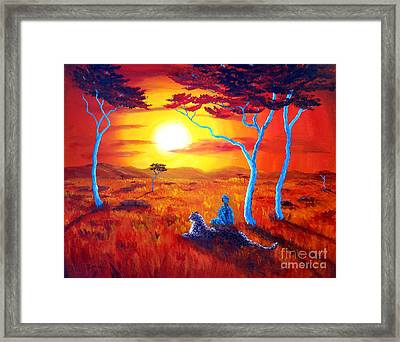 African Sunset Meditation Framed Print by Laura Iverson