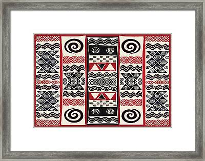 African Tribal Ritual Design Framed Print by Vagabond Folk Art - Virginia Vivier