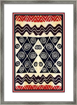 African Tribal Textile Design Framed Print by Vagabond Folk Art - Virginia Vivier