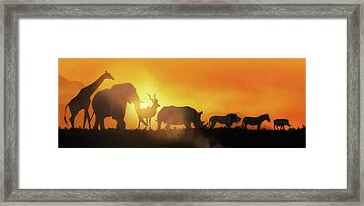African Wildlife Sunset Silhouette Banner Framed Print