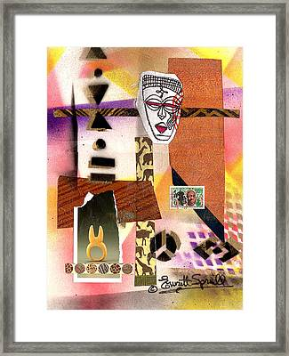 Afro Collage - E Framed Print by Everett Spruill