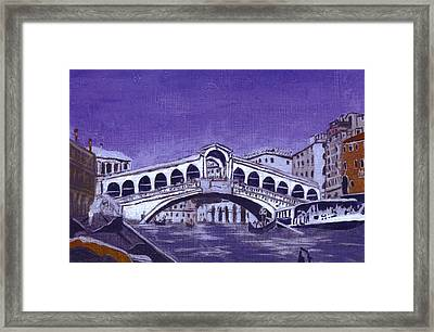 After Canal Grande With The Rialto Bridge Framed Print by Hyper - Canaletto