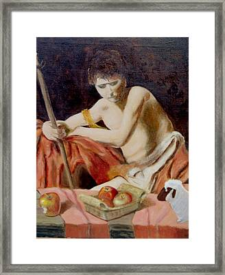 after Carravaggio's John in the widerness with apples and lamb Framed Print by Edward Merrell