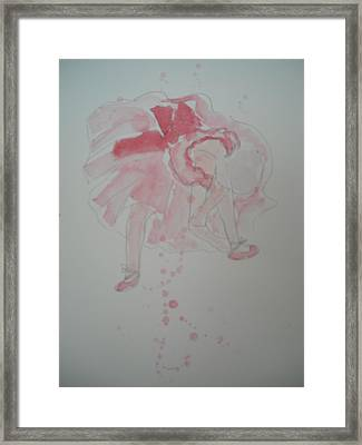 After Degas In Watercolour 'ballerina Tying Her Shoes' Framed Print by Maro Kirby