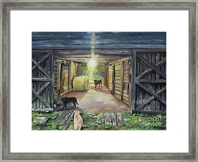 After Hours In Pa's Barn - Barn Lights - Labs Framed Print