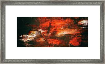 After Midnight - Black Orange And White Contemporary Abstract Art Framed Print by Modern Art Prints