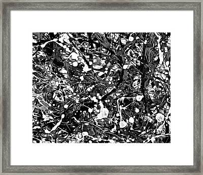 After Pollock Black And White Framed Print