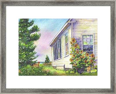 Framed Print featuring the painting After School Activities At Monhegan School House by Susan Herbst