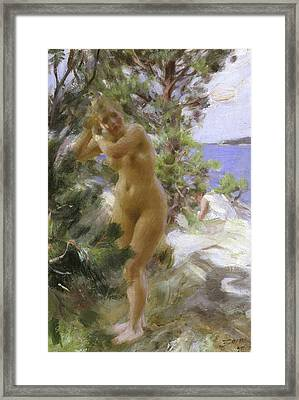 After The Bath, 1895 Framed Print by Anders Leonard Zorn
