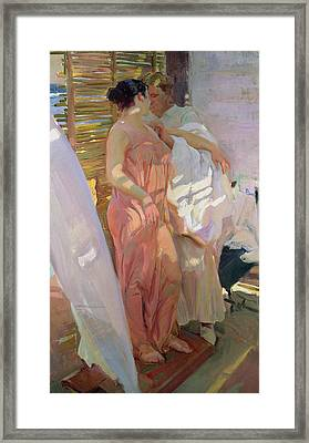 After The Bath Framed Print by Joaquin Sorolla y Bastida