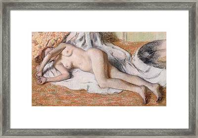 After The Bath Or Reclining Nude Framed Print by Edgar Degas