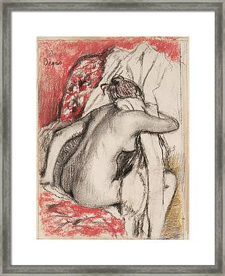 After The Bath Seated Woman Drying Herself Framed Print