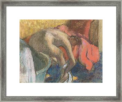 After The Bath, Woman Drying Her Leg   The Red Robe Framed Print by Edgar Degas