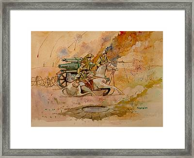 Framed Print featuring the painting After The Charge by Ray Agius
