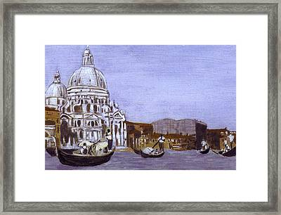 After The Grand Canal And The Church Of The Salute Framed Print by Hyper - Canaletto