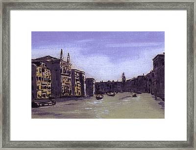 After The Grand Canal From Campo San Vio Near The Rialto Bridge Framed Print by Hyper - Canaletto
