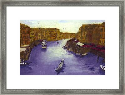 After The Grand Canal From The Rialto Bridge Framed Print by Hyper - Canaletto