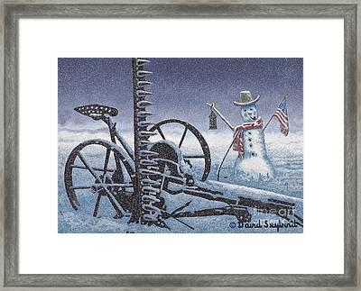 After The Harvest Snowman Framed Print by John Stephens