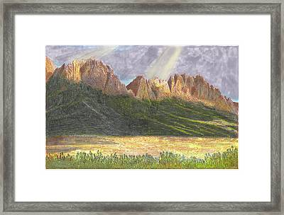 Framed Print featuring the painting After The Monsoon Organ Mountains by Jack Pumphrey