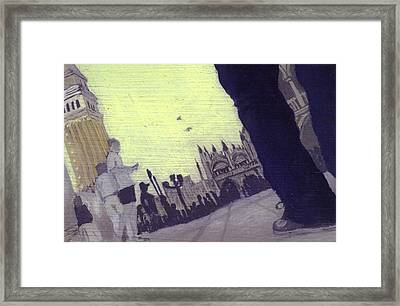 After The Piazzetta Towards The Torre Dell Framed Print by Hyper - Canaletto