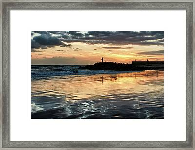 Framed Print featuring the photograph Afterglow Fishing by Marc Huebner