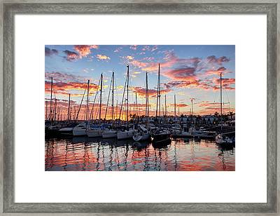 Framed Print featuring the photograph Afterglow In Puerto De Mogan by Marc Huebner
