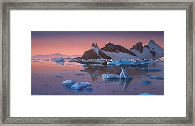 Afterglow Lemarie Channel Antarctica Framed Print