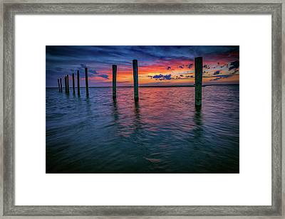 Afterglow On Great South Bay Framed Print by Rick Berk