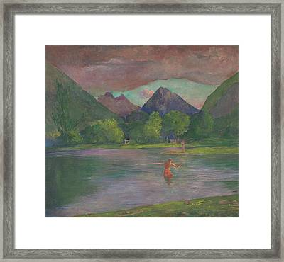 Afterglow Tautira River Tahiti Fisherman Spearing A Fish Framed Print by John La Farge