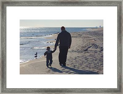 Afternoon Beach Walk Framed Print by Russell Ford
