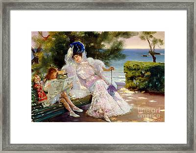 Afternoon By The Sea, Biarritz, 1906 Framed Print by Jose Villegas Cordero