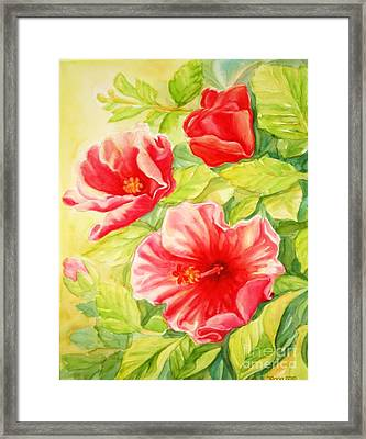 Framed Print featuring the painting Afternoon Hibiscus by Inese Poga