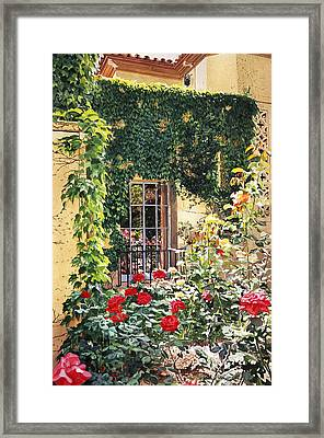 Afternoon In The Rose Garden Framed Print by David Lloyd Glover