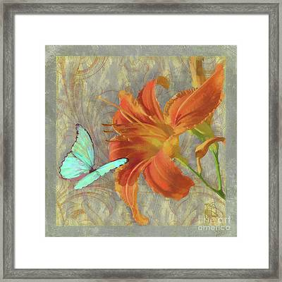 Afternoon In Tuscany II Orange Day Lily Aqua Butterfly Framed Print by Tina Lavoie