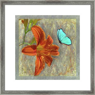 Afternoon In Tuscany, Orange Day Lily Floral Art Framed Print by Tina Lavoie