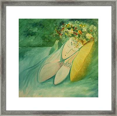 Afternoon Nap In The Garden Framed Print by Tone Aanderaa