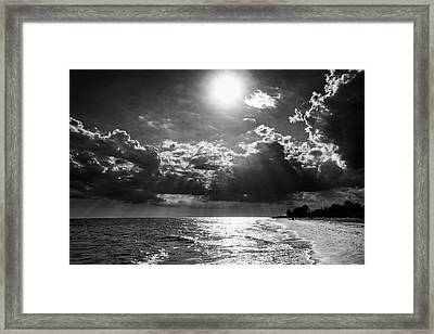 Afternoon On Sanibel Island In Black And White Framed Print