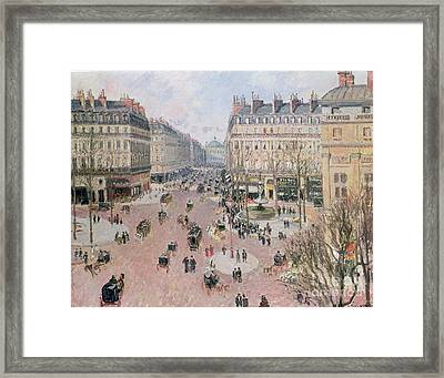 Afternoon Sun In Winter Framed Print by Camille Pissarro